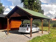 Garážová stání a přístřešky na auto - Garážová stání se sedlovou střechou