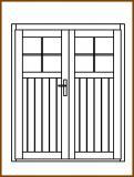 Dveře 149/193 cm, 1/3 sklo, Linde, palubkové, dvoukřídlé