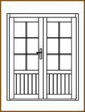 Dveře 149/193 cm, 2/3 sklo, Linde, palubkové, dvoukřídlé