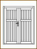 Dveře 149/193 cm, plné, Linde, palubkové, dvoukřídlé