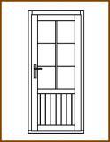 Dveře 84/181 cm, 2/3 sklo, Linde, palubkové, pravé