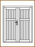 Dveře 149/181 cm, plné, Linde, palubkové, dvoukřídlé
