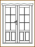 Dveře 149/193 cm, 2/3 sklo, Taunus, kazetové, dvoukřídlé