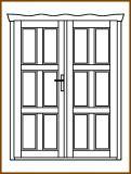 Dveře 149/193 cm, plné, Taunus, kazetové, dvoukřídlé