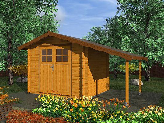 Zahradní domky na nářadí Albert EKO - Albert EKO DD 250x250 28 mm + přístřešek