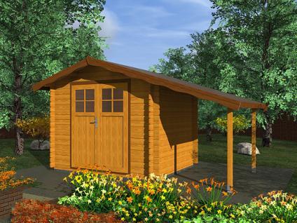 Zahradní domky na nářadí Albert EKO DD - Albert EKO DD 250x250 28 mm + přístřešek