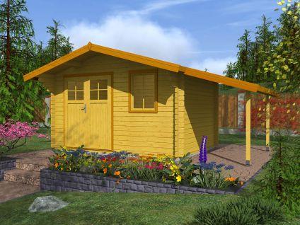 Zahradní domky Laura EKO DD - Laura EKO DD 350x250 28 mm + přístřešek