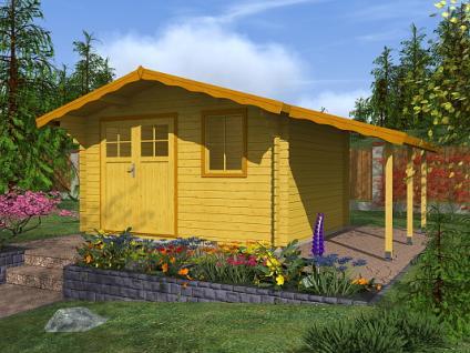Zahradní domky Laura EKO DD - Laura EKO DD 350x300 28 mm + přístřešek