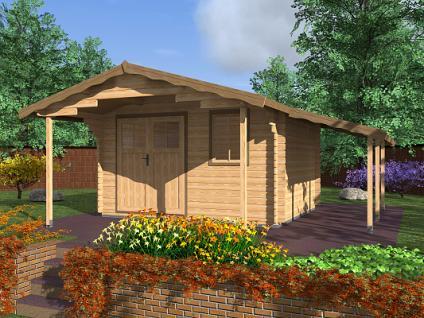 Zahradní domky Laura EKO DD - Laura EKO DD 350x300 28 mm s čelním přesahem 170 cm a s přístřeškem