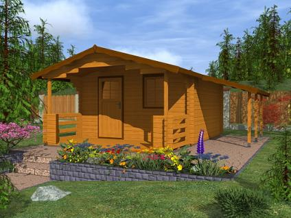 Zahradní chatky Luka EKO - Luka EKO 350x350 28 mm + přístřešek