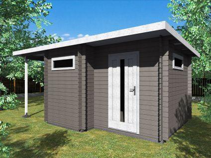 Zahradní domky UELI <br> s rovnou střechou - Ueli 350x300 28 mm + přístřešek