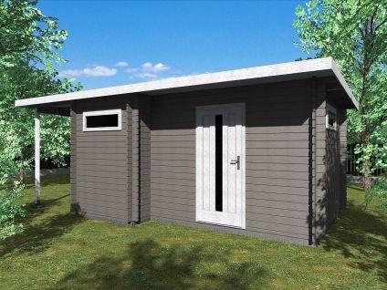 Zahradní domky UELI <br> s rovnou střechou - Ueli 450x300 28 mm + přístřešek