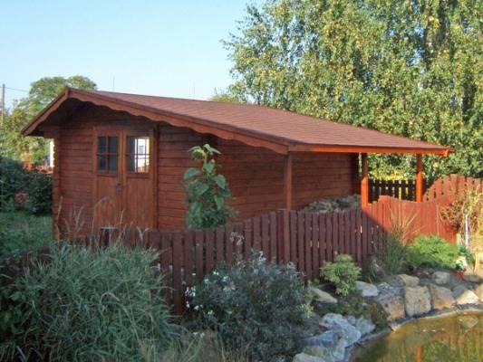 Claudia 350x350 cm s dvoukř. dveřmi - Zahradní domek Claudia s dvoukřídlými dveřmi a bez okna. Atypické provedení dle přání zákazníka.