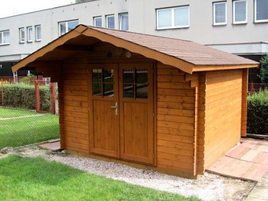 Albert 300x300 DD - Nářaďový zahradní domek Albert s čelním přesahem střechy 30 cm a s dvoukřídlými dveřmi.