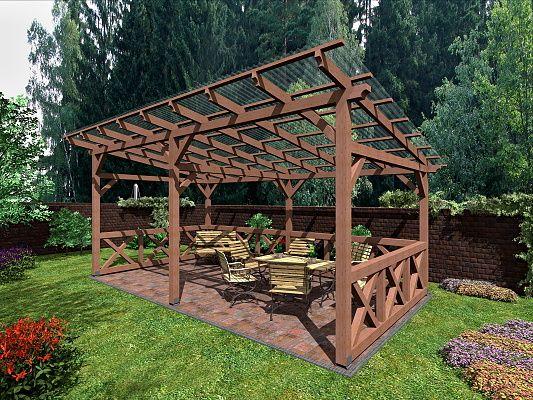 Pergola Klasik_selská zástěna - Zahradní pergola Klasik se střechou z polykarbonátu - vlna WT. Je osazena selskými zástěnami.