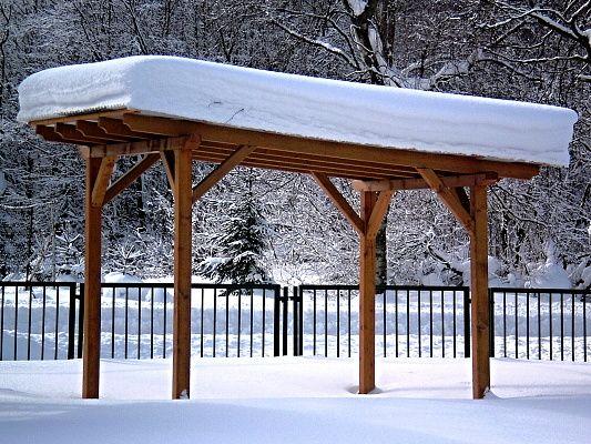 Pergola Standard 250x320 - Zahradní pergola s palubkovým záklopem s pořádnou sněhovou