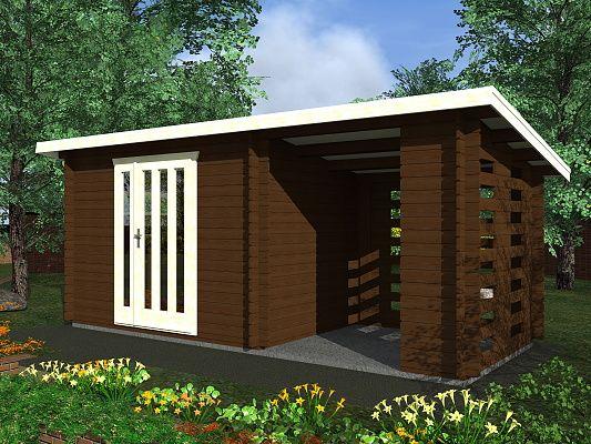 Kamal 3 EKO 300x200 28 mm_vizualizace - Moderní nářaďový zahradní domek Kamal s čelním přesahem střechy 30 cm a boční přístavbou. Standardní provedení.