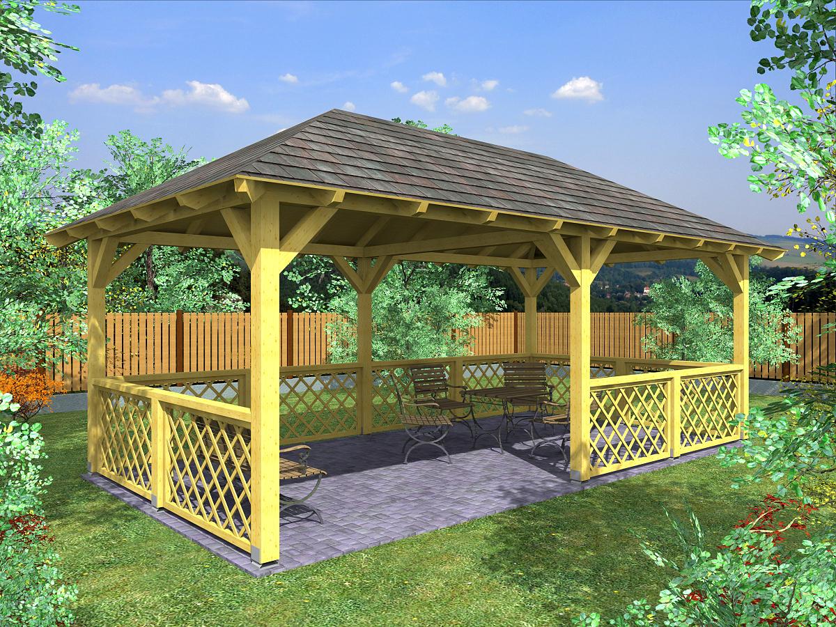 zahradní altán Valba 300x600 - Zahradní altán Valba s mřížovými zástěnami.