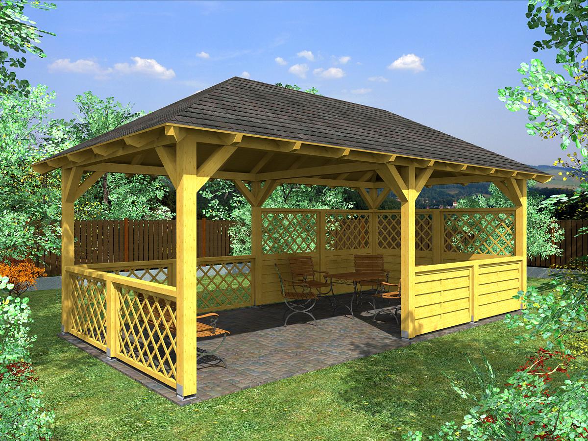 zahradní altán Valba 300x600 - Zahradní altán Valba s mřížovými zástěnami v kobinaci s lamelovou zástěnou.