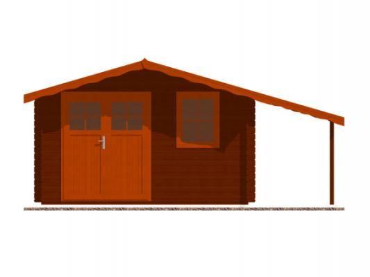 Laura EKO DD 350x300 + přístřešek_vizualizace čelní strany - Zahradní domek Laura EKO s čelním přesahem střechy 70 cm a s bočním přístřeškem. Dvoukřídlé dveře. Standardní provedení.