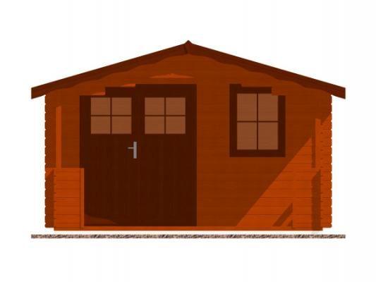 Luka EKO DD 350x300 28 mm_vizualizace čelní stěny - Zahradní domek Luka EKO DD s čelním přesahem střechy 170 cm a terasou. Standardní provedení.