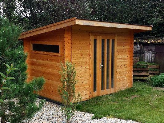 Kevin 300x200 - Moderní nářaďový zahradní domek Kevin s čelním přesahem střechy 30 cm. Standardní provedení.