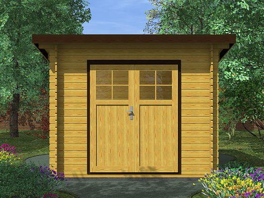 Robin EKO DD 300x200 28 mm_vizualizace - Nářaďový zahradní domek Robin s čelním přesahem střechy 30 cm. Standardní provedení.