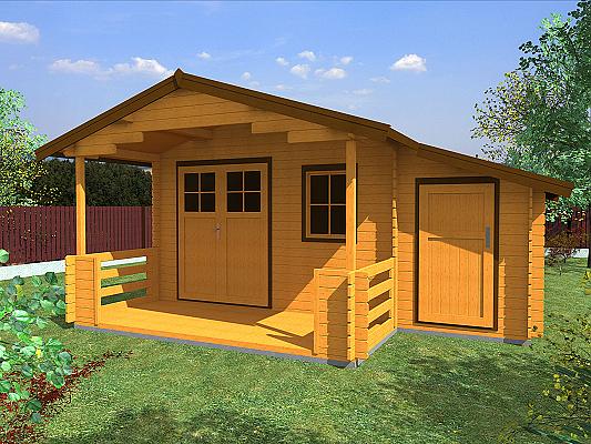 Zahradní chatka Camping EKO DD 490x300 - Zahradní chatka Camping s dvoukřídlými dveřmi a zastřešenou terasou.