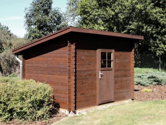 Robin EKO 300x250 - Nářaďový zahradní domek Robin s čelním přesahem střechy 30 cm. Oplechování střechy, okapové žlaby a svody - pozink.
