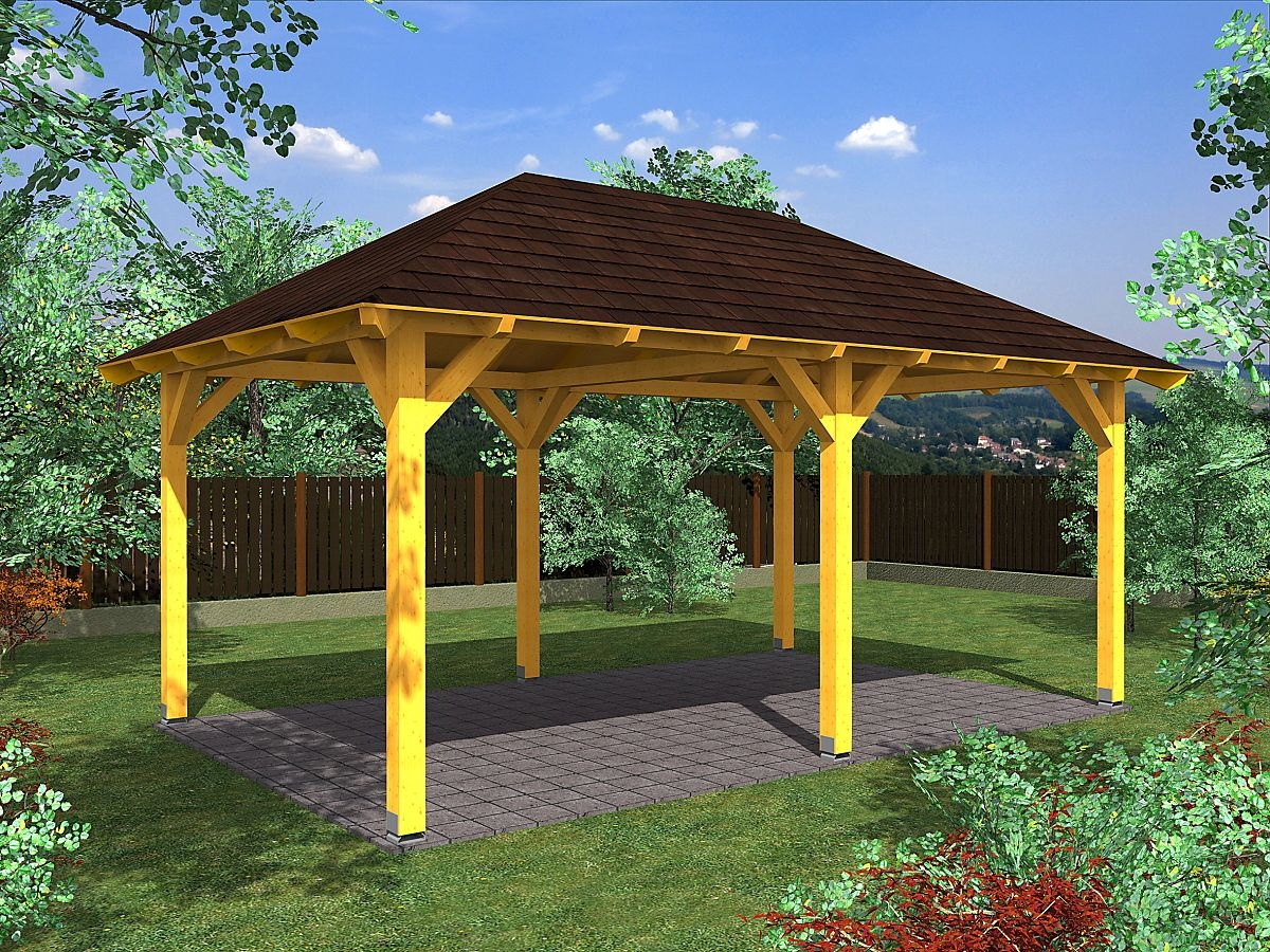 Garážová stání s valbovou střechou - Garážové stání Valba 350x500
