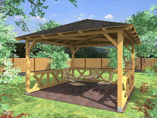 Altán Atelier 350x350_vizualizace - Zahradní altán atelier se selskými zástěnami.