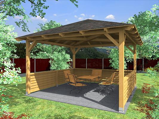 Altán Atelier 350x350_vizualizace - Zahradní altán atelier s plnými lamelovými zástěnami.