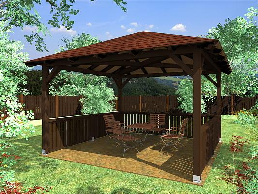 Altán Atelier 350x350_vizualizace - Zahradní altán atelier s plůtkovými zástěnami.