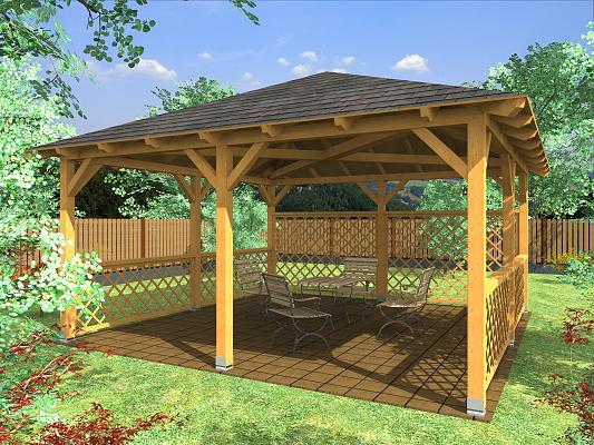 Altán Atelier 450x450_vizualizace - Zahradní altán Ateliér s mřížovými zástěnami.