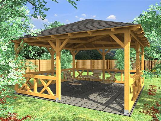 Altán Atelier 450x450_vizualizace - Zahradní altán Ateliér se selskou zástěnou.