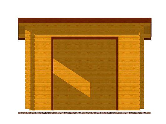čekárna Oflenda 300x200 28 mm_vizualizace čelní strany - Srubová autobusová čekárna Oflenda s čelním přesahem 50 cm a s dvěma pevnými okny. Standardní provedení.