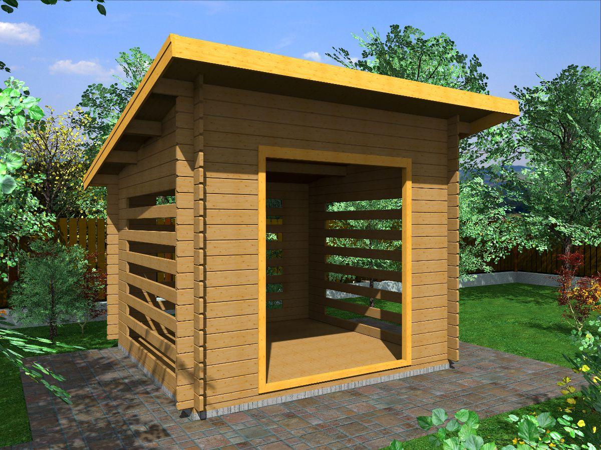 Dřevník Standard 250x250 - vizualizace - Dřevník Standard s přesahem střechy 50 cm a vstupním otvorem širokým 150 cm. Standardní provedení.