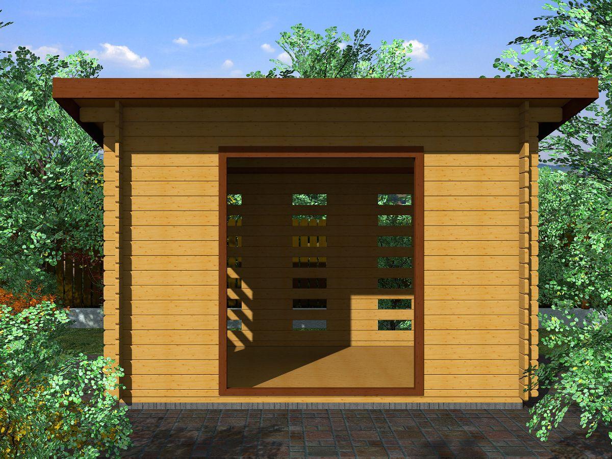 Dřevník Standard 300x200 - vizualizace - Dřevník Standard s přesahem střechy 50 cm a vstupním otvorem širokým 150 cm. Standardní provedení.