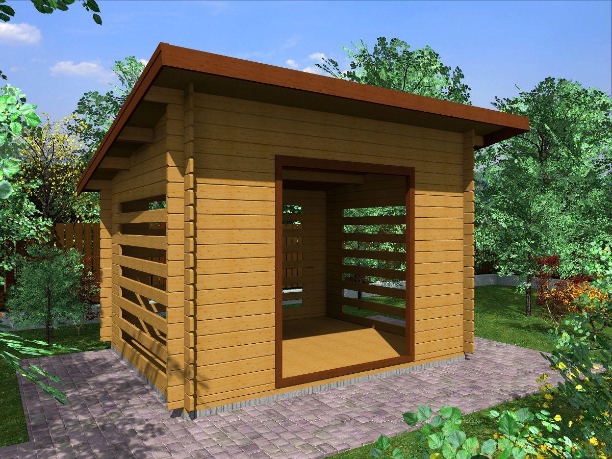 Dřevník Standard 300x250 - vizualizace - Dřevník Standard s přesahem střechy 50 cm a vstupním otvorem širokým 150 cm. Standardní provedení.