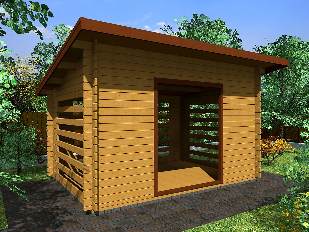 Dřevník Standard 350x250 - vizualizace - Dřevník Standard s přesahem střechy 50 cm a vstupním otvorem širokým 150 cm. Standardní provedení.