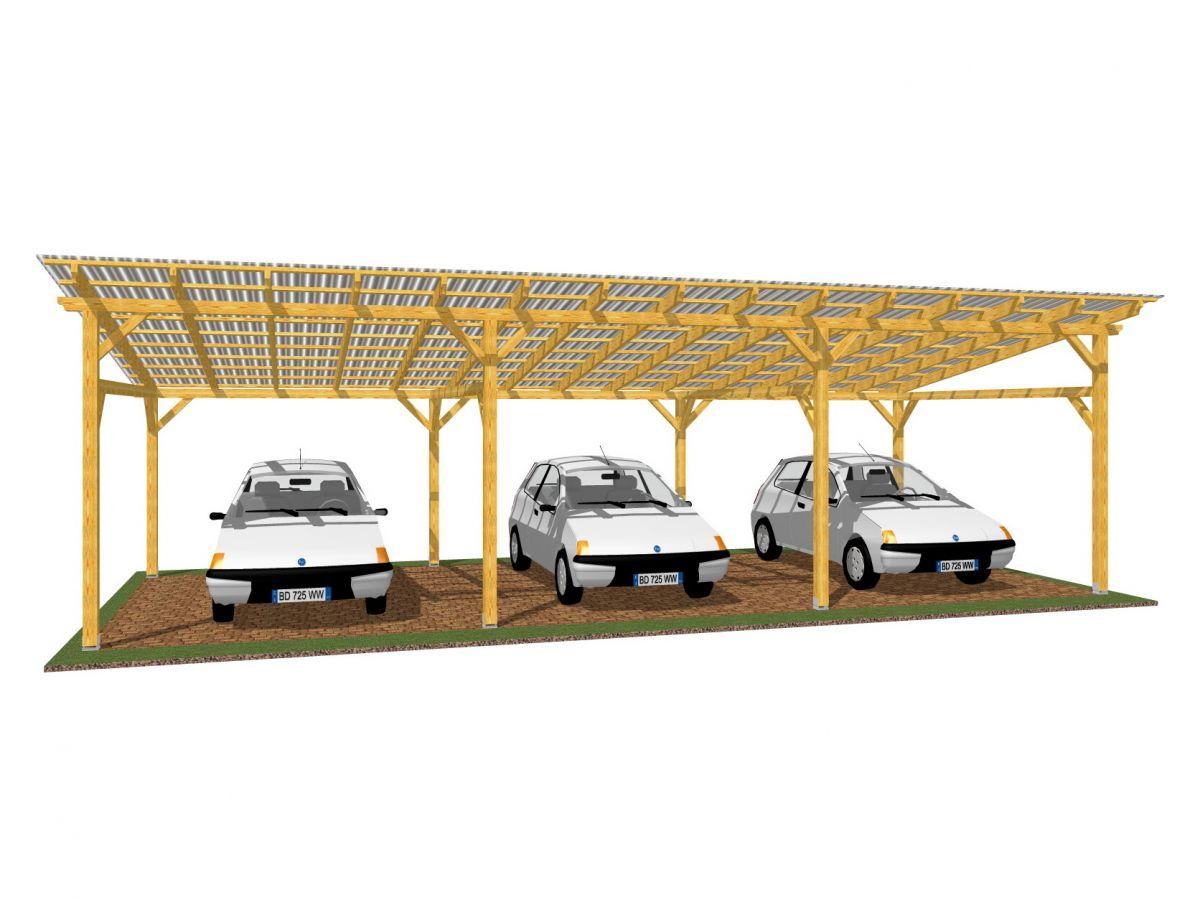 Garážové stání Klasik 1043x400_vizualizace - Vizualizace garážového stání Klasik s polykarbonátovou krytinou.