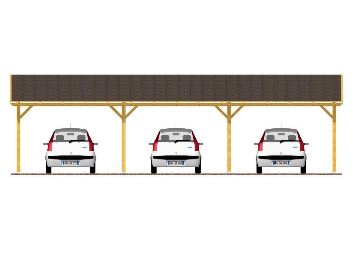 Garážové stání Klasik 1043x400_vizualizace - Vizualizace garážového stání Klasik se šindelem