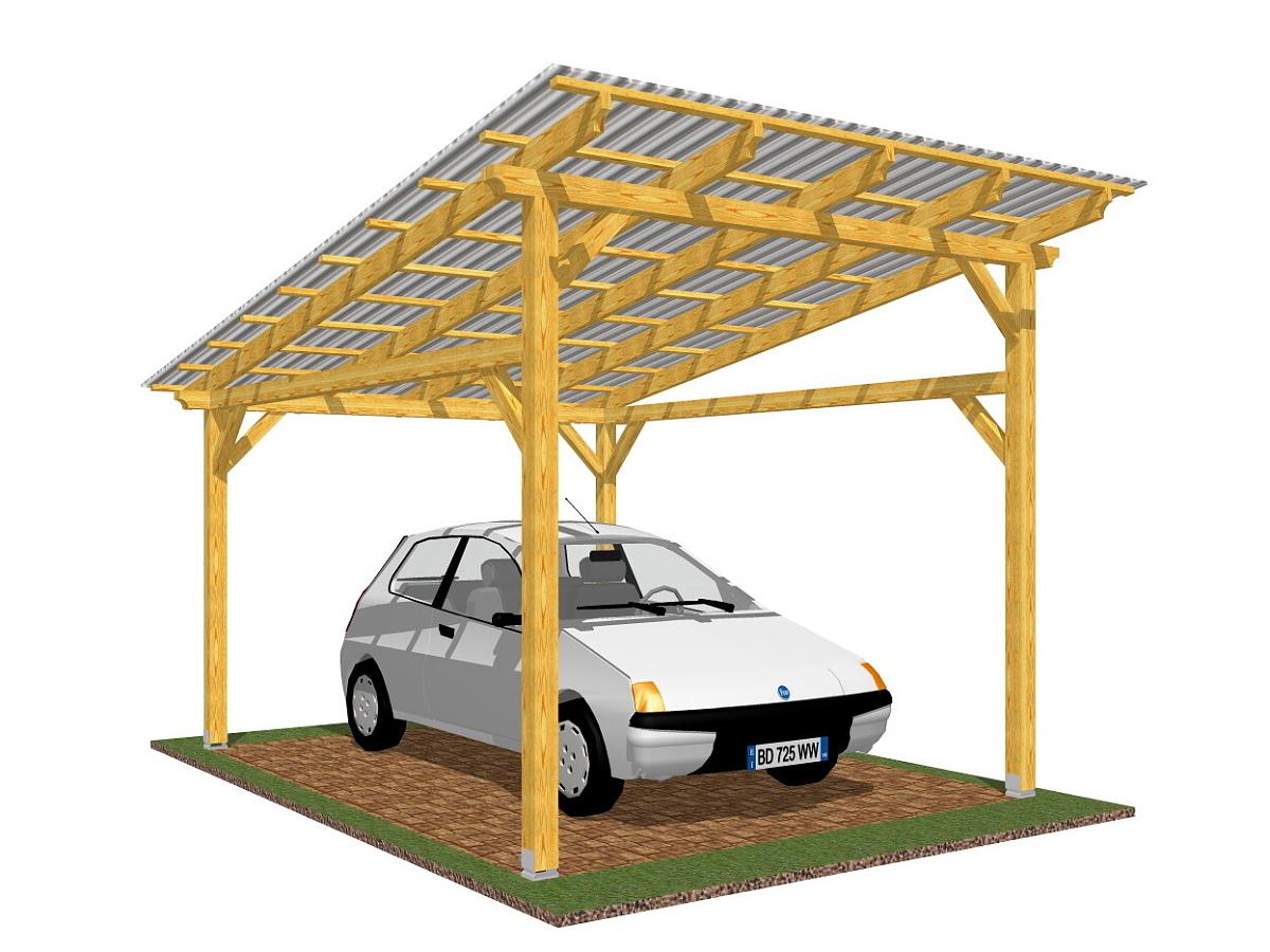 Garážové stání Klasik 300x350_vizualizace - Vizualizace garážového stání Klasik s polykarbonátovou krytinou.