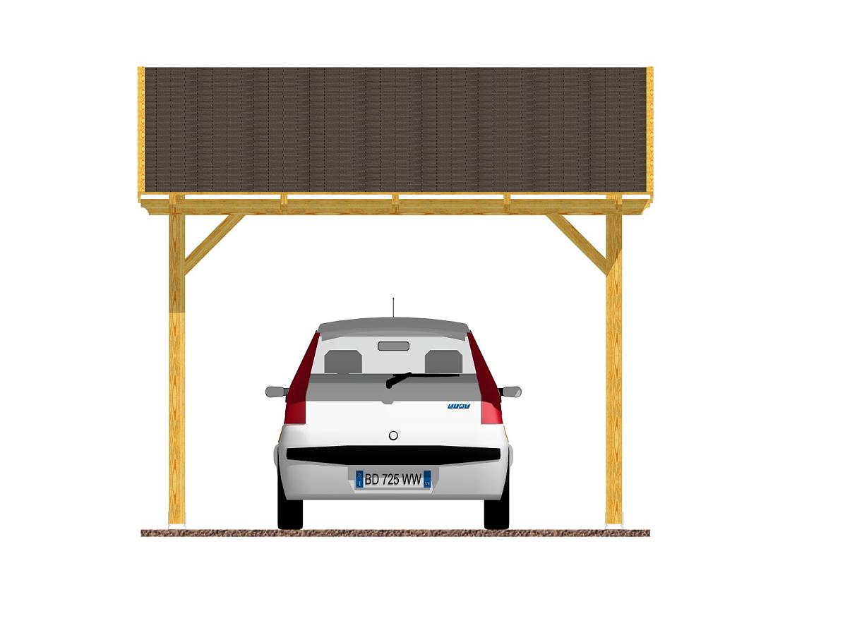 Garážové stání Klasik 300x350_vizualizace - Vizualizace garážového stání Klasik se šindelem.