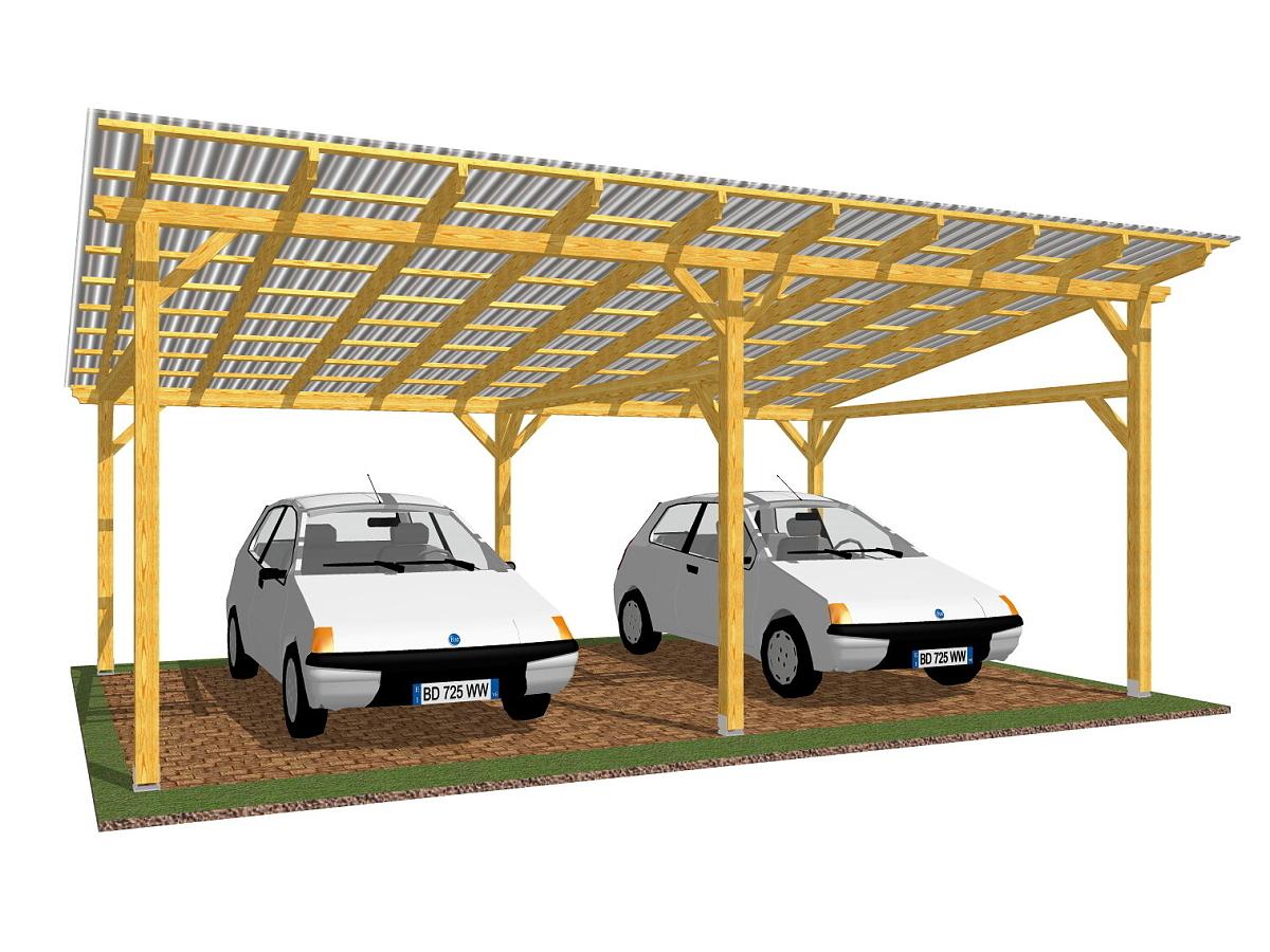 Garážové stání Klasik 692x400_vizualizace - Vizualizace garážového stání Klasik s polykarbonátovou krytinou.