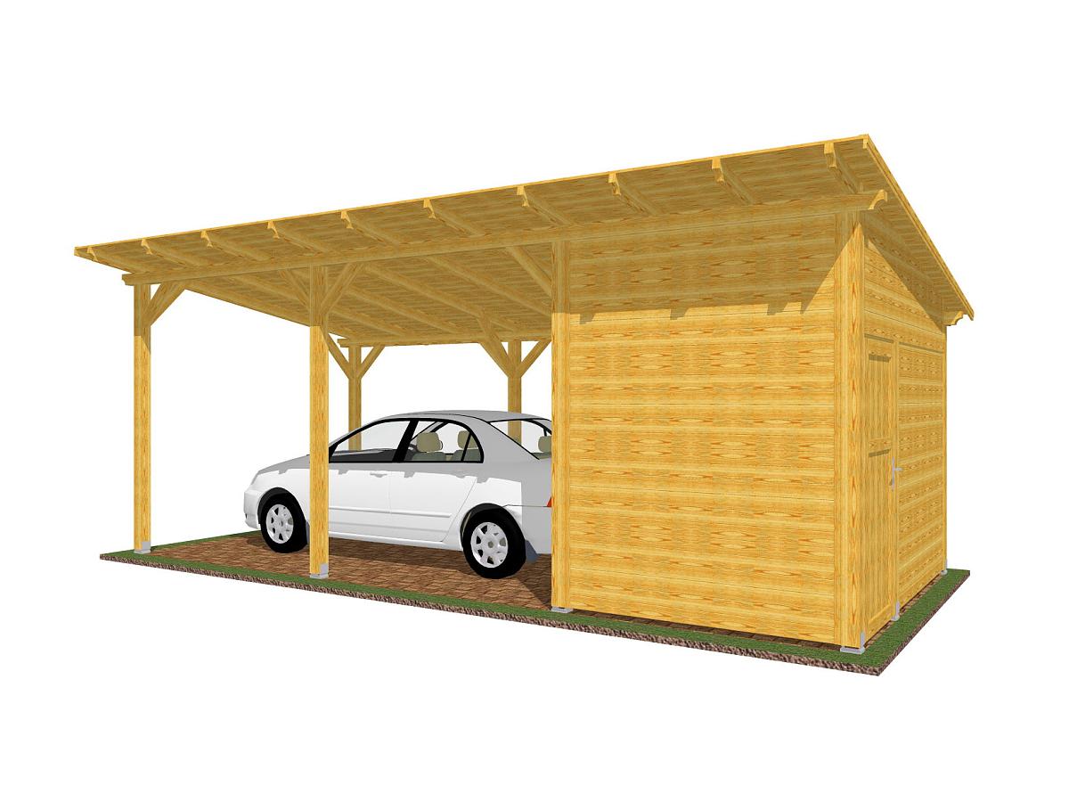 Garážové stání se skladem 300x700_vizualizace - Garážové stání se skladem a s palubkovým střešním záklopem. Standardní provedení.