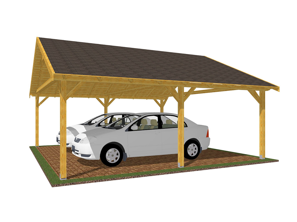 Garážové stání 600x600_vizualizace - Vizualizace garážového stání se sedlovou střechou a palubkovým střešním záklopem.