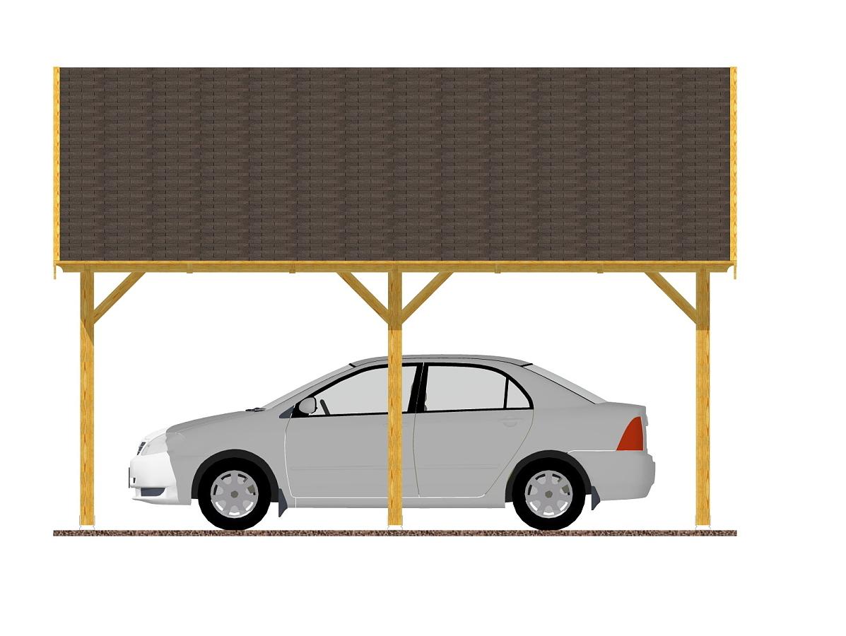 Garážové stání 600x500_vizualizace - Vizualizace garážového stání se sedlovou střechou a palubkovým střešním záklopem.