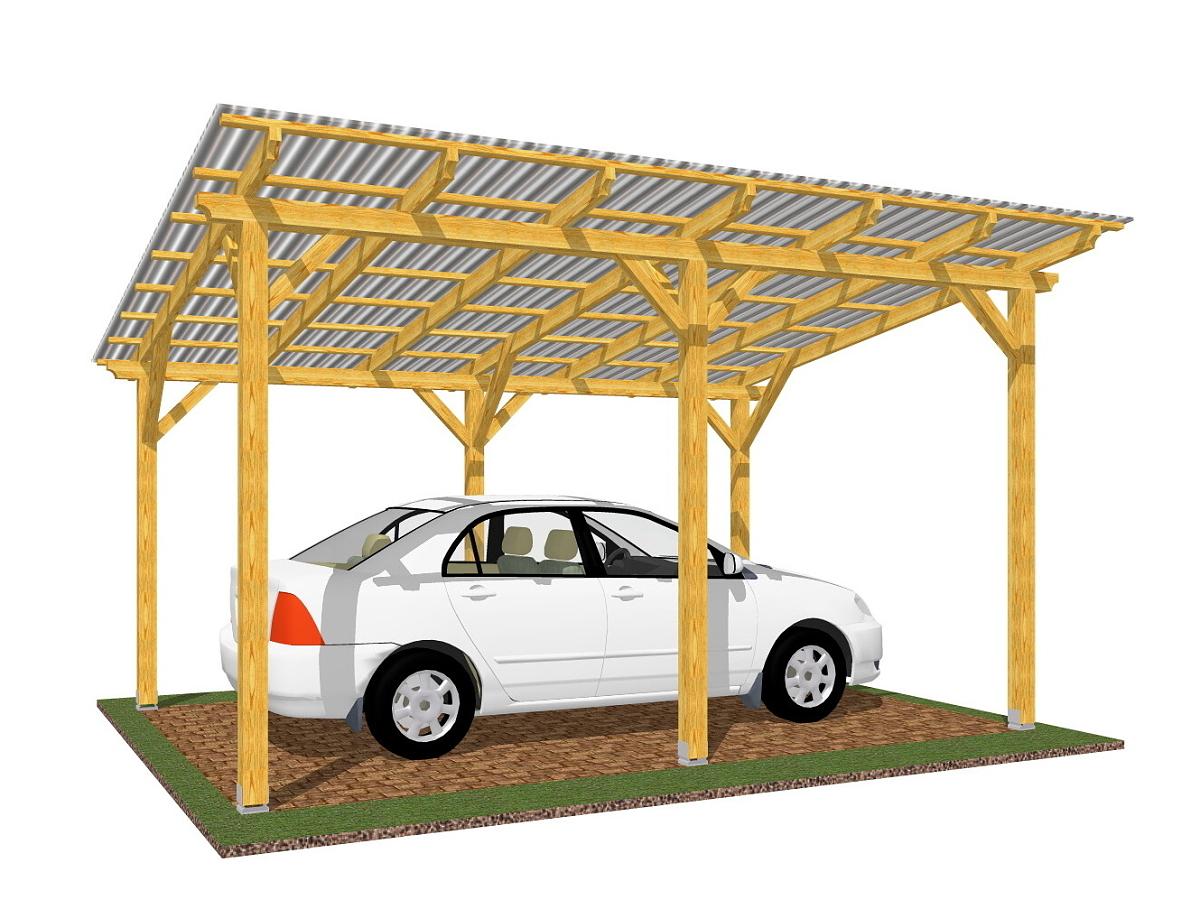 Garážové stání Standard 300x470_vizualizace - Standardní provedení garážového stání, střešní krytina - polykarbonát WT.