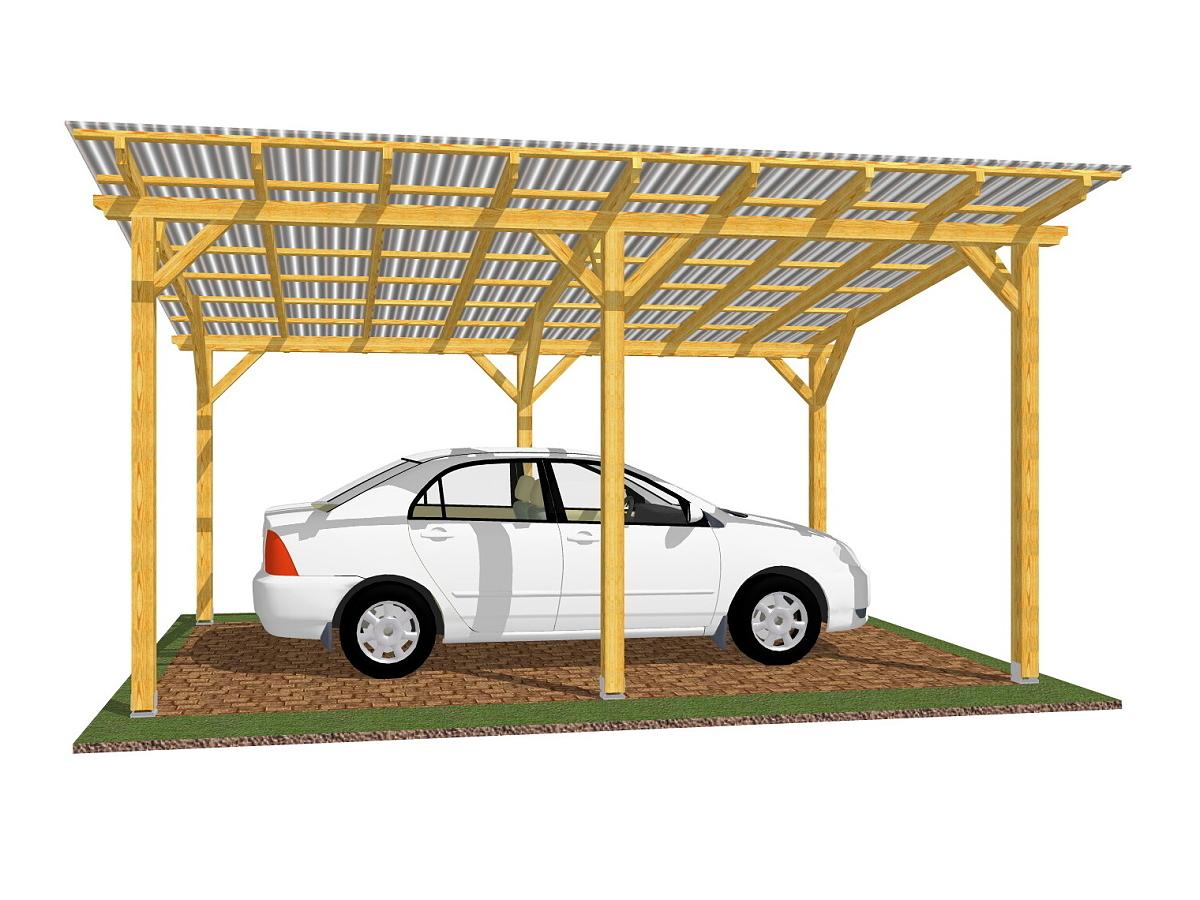Garážové stání Standard 300x520_vizualizace - Standardní provedení garážového stání, střešní krytina - polykarbonát WT.